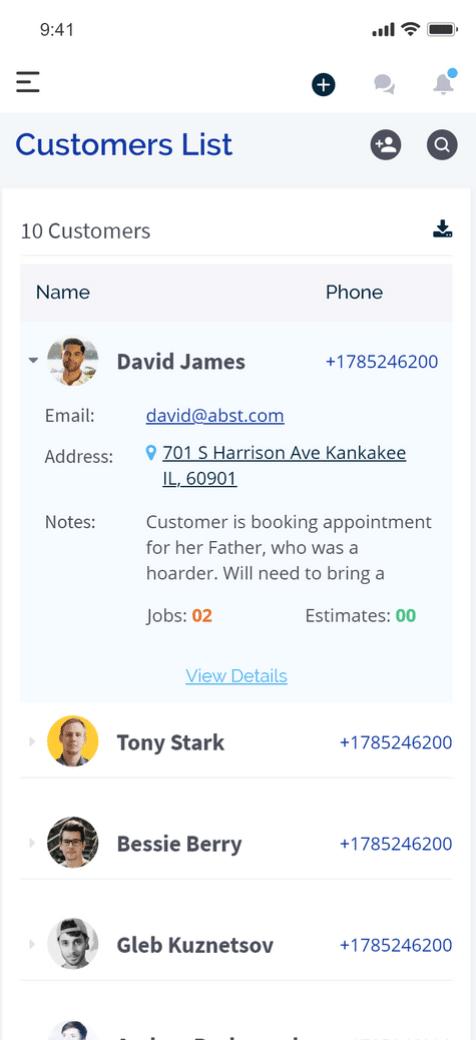 customer list field service software